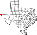 Map of Texas showing El Paso County - Click on map for a greater detail.
