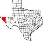 Map of Texas showing Hudspeth County - Click on map for a greater detail.