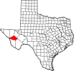 Map of Texas showing Jeff Davis County - Click on map for a greater detail.