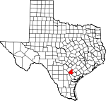 Map of Texas showing Karnes County - Click on map for a greater detail.