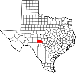 Map of Texas showing Kimble County - Click on map for a greater detail.