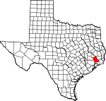 Map of Texas showing Liberty County - Click on map for a greater detail.