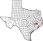 Map of Texas showing Montgomery County - Click on map for a greater detail.