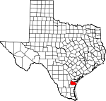 Map of Texas showing Nueces County - Click on map for a greater detail.