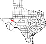 Map of Texas showing Ward County - Click on map for a greater detail.