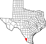 Map of Texas showing Zapata County - Click on map for a greater detail.