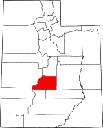 Map of Utah showing Sevier County - Click on map for a greater detail.