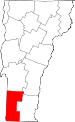 Map of Vermont showing Bennington County - Click on map for a greater detail.