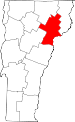Map of Vermont showing Caledonia County - Click on map for a greater detail.
