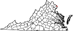 Map of Virginia showing Arlington County - Click on map for a greater detail.
