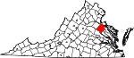 Map of Virginia showing Caroline County - Click on map for a greater detail.