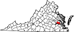 Map of Virginia showing Charles City County - Click on map for a greater detail.
