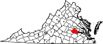 Map of Virginia showing Chesterfield County - Click on map for a greater detail.
