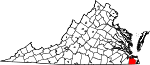 Map of Virginia showing City of Chesapeake - Click on map for a greater detail.