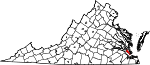 Map of Virginia showing City of Newport News - Click on map for a greater detail.