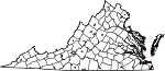 Map of Virginia showing City of Poquoson - Click on map for a greater detail.
