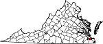 Map of Virginia showing City of Portsmouth - Click on map for a greater detail.