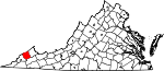 Map of Virginia showing Dickenson County - Click on map for a greater detail.