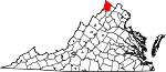 Map of Virginia showing Frederick County - Click on map for a greater detail.
