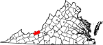 Map of Virginia showing Giles County - Click on map for a greater detail.