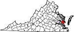 Map of Virginia showing Gloucester County - Click on map for a greater detail.