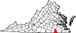 Map of Virginia showing Greensville County - Click on map for a greater detail.
