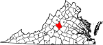 Map of Virginia showing Nelson County - Click on map for a greater detail.