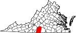 Map of Virginia showing Pittsylvania County - Click on map for a greater detail.
