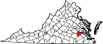 Map of Virginia showing Prince George County - Click on map for a greater detail.