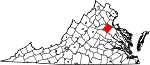 Map of Virginia showing Spotsylvania County - Click on map for a greater detail.