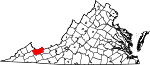 Map of Virginia showing Tazewell County - Click on map for a greater detail.