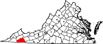 Map of Virginia showing Washington County - Click on map for a greater detail.