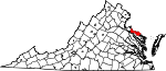 Map of Virginia showing Westmoreland County - Click on map for a greater detail.