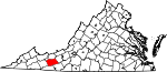 Map of Virginia showing Wythe County - Click on map for a greater detail.