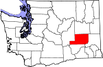 Map of Washington showing Adams County - Click on map for a greater detail.