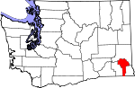 Map of Washington showing Garfield County - Click on map for a greater detail.