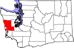 Map of Washington showing Grays Harbor County - Click on map for a greater detail.