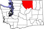 Map of Washington showing Okanogan County - Click on map for a greater detail.