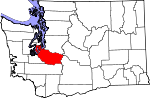 Map of Washington showing Pierce County - Click on map for a greater detail.