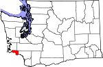 Map of Washington showing Wahkiakum County - Click on map for a greater detail.