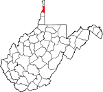 Map of West Virginia showing Brooke County - Click on map for a greater detail.