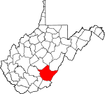 Map of West Virginia showing Greenbrier County - Click on map for a greater detail.