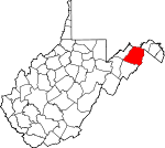 Map of West Virginia showing Hampshire County - Click on map for a greater detail.