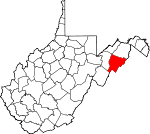 Map of West Virginia showing Hardy County - Click on map for a greater detail.