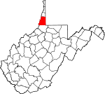 Map of West Virginia showing Marshall County - Click on map for a greater detail.