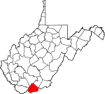 Map of West Virginia showing Mercer County - Click on map for a greater detail.