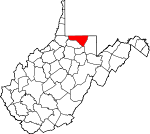 Map of West Virginia showing Monongalia County - Click on map for a greater detail.
