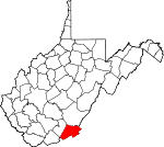 Map of West Virginia showing Monroe County - Click on map for a greater detail.