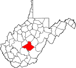 Map of West Virginia showing Nicholas County - Click on map for a greater detail.