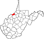 Map of West Virginia showing Pleasants County - Click on map for a greater detail.